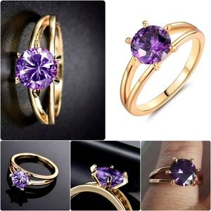 18K Gold Filled Solitaire Purple Amethyst